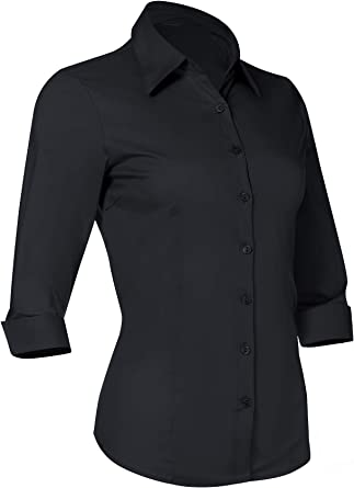 Ladies Smart Casual Short Sleeve Work Shirt Blouse Fitted Office Mid Blue
