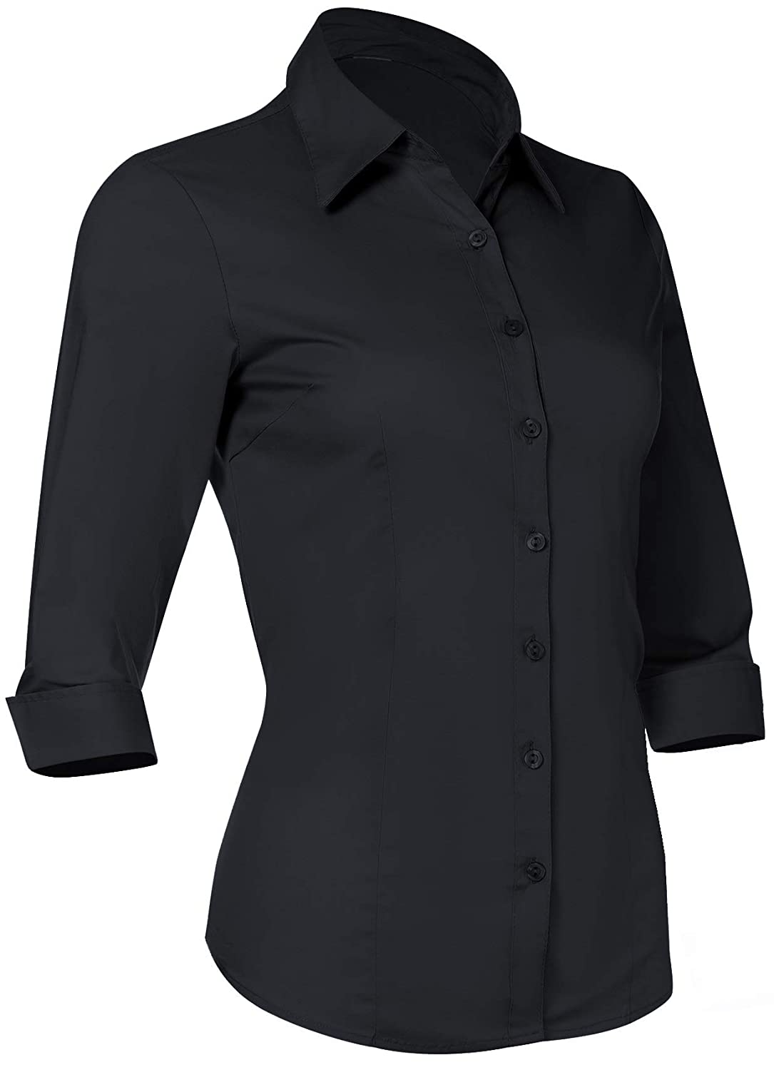 2bfb431d Amazon.com: Button Down Shirts for Women 3 4 Sleeve Fitted Dress Shirt and Blouses  Work Top: Clothing