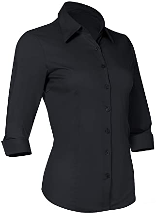 88cdbd41 Amazon.com: Button Down Shirts for Women 3 4 Sleeve Fitted Dress Shirt and  Blouses Work Top: Clothing