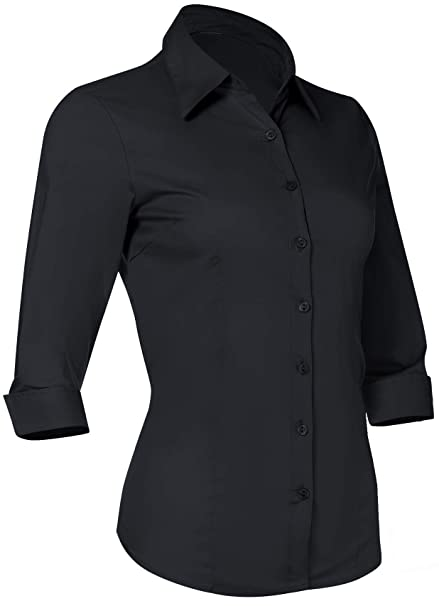 10cb5a88a Pier 17 Button Down Shirts for Women 3 4 Sleeve Fitted Dress Shirt and  Blouses Work