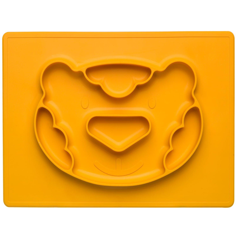 Plato de silicona con mantel antideslizante para bebé s y ninos, silicona, rosa, Ferkel Happy Face Mat