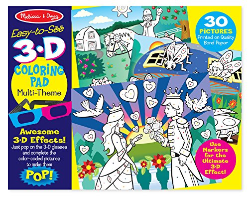 Melissa & Doug Easy-to-See 3-D Kids Coloring Pad - Princesses, Fairies, Horses, and More