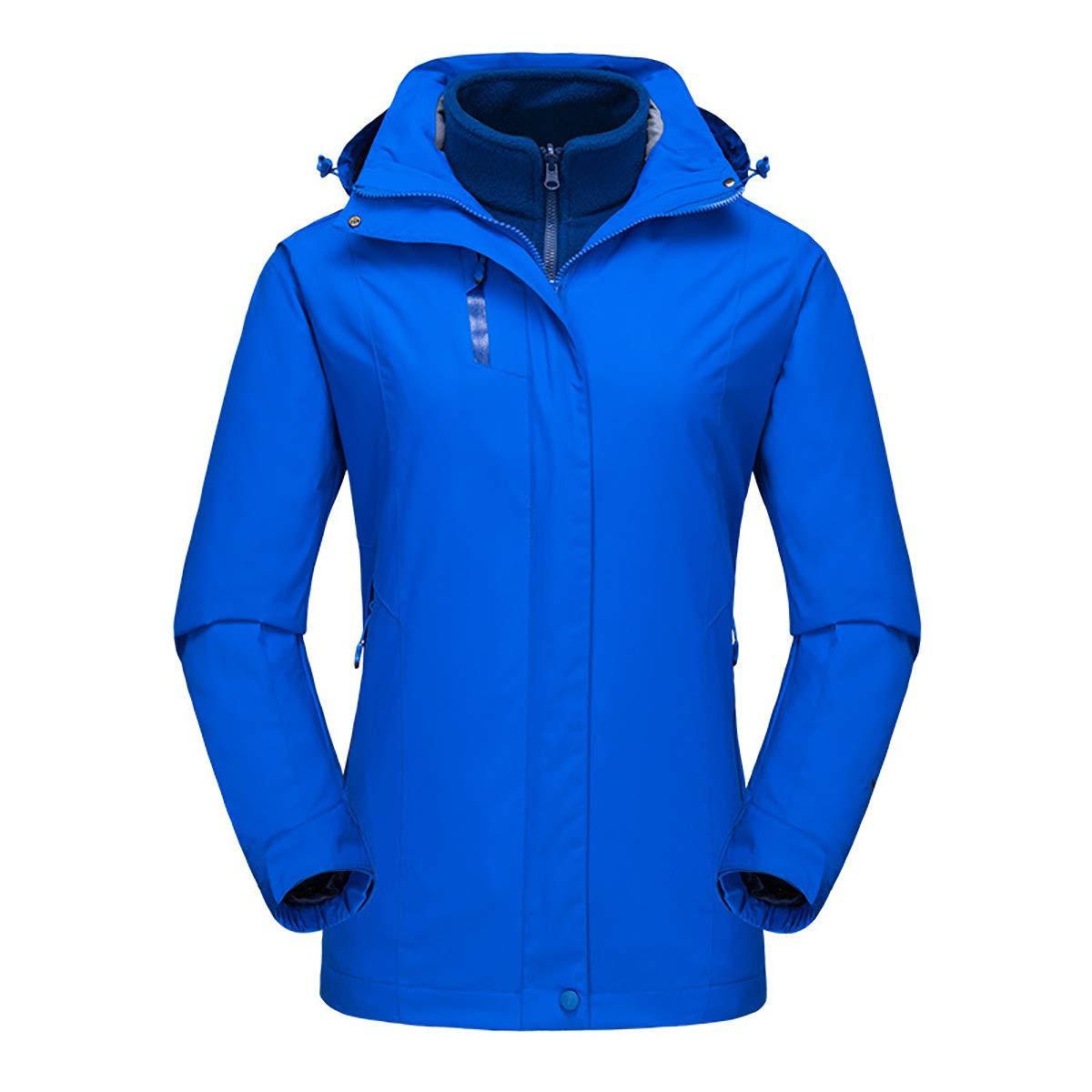 bluee Women Mountaineering Sportswear, 3in1 Detachable Lined Thicken Down Jacket Hooded Windproof Waterproof Warm Outdoor Jacket TwoPiece,Black,S