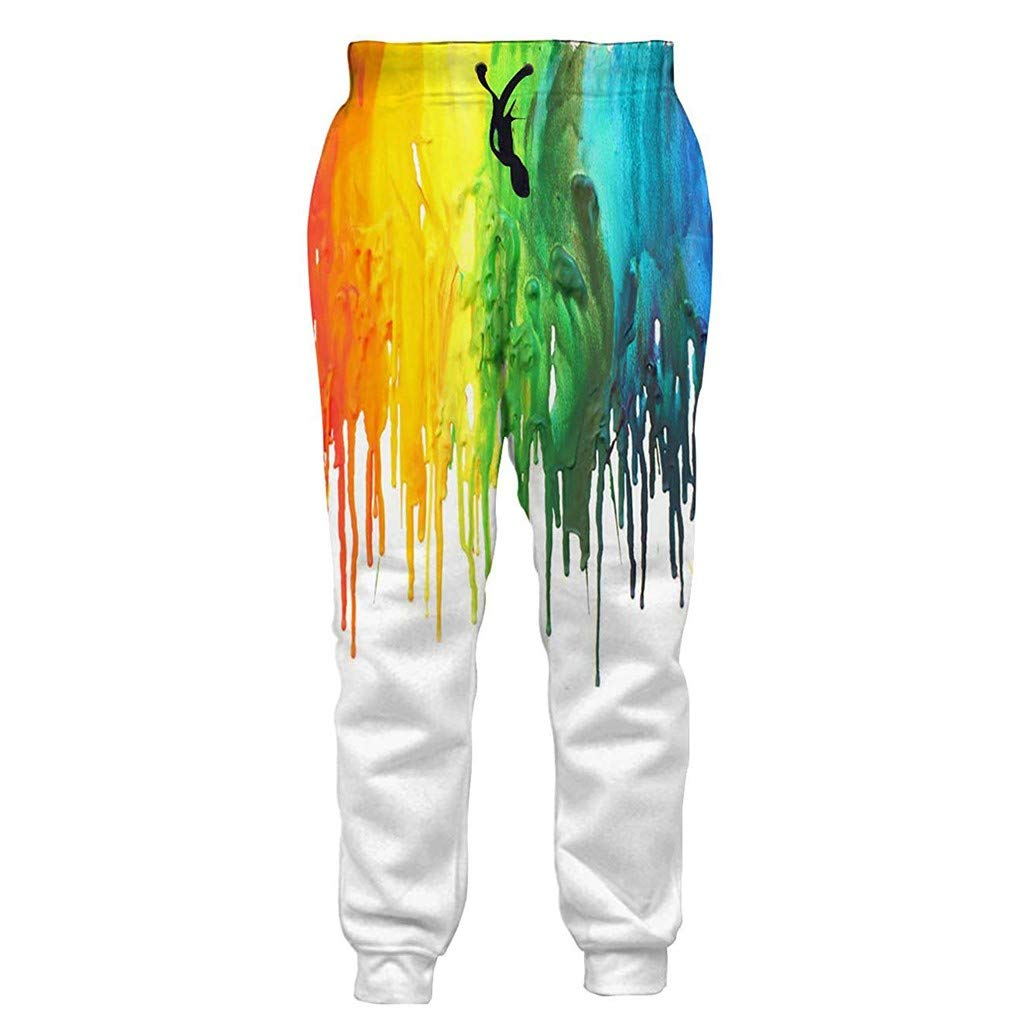 Men 3D Printed Sweatpants Casual 2019 New Graphic Trousers Fashion Jogging Sport Pants with Drawstring (S, White)