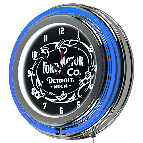 trademark-gameroom-ford-chrome-double-rung-neon-clock-vintage-1903-ford-motor-co