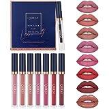 7Pcs Matte Liquid Lipstick + 1Pcs Lip Plumper Makeup Set Kit, Long Lasting Waterproof Velvet Lip Gloss Set, Pigmented…
