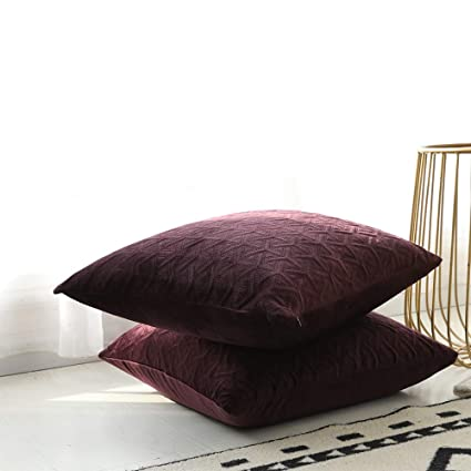 Superb Rythome Set Of 2 Decorative Throw Pillow Cover Bedding Comfortable Accent Cushion Sham Case Couch Sofa Soft Solid Quilted Velvet Zipper Hidden Forskolin Free Trial Chair Design Images Forskolin Free Trialorg