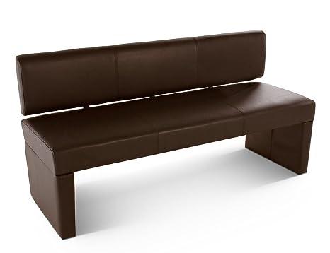 SAM® Esszimmer Sitzbank Sabrina, 164 cm, in braun, Sitzbank mit Rückenlehne  aus Samolux®-Bezug, angenehmer Sitzkomfort, frei im Raum aufstellbare Bank
