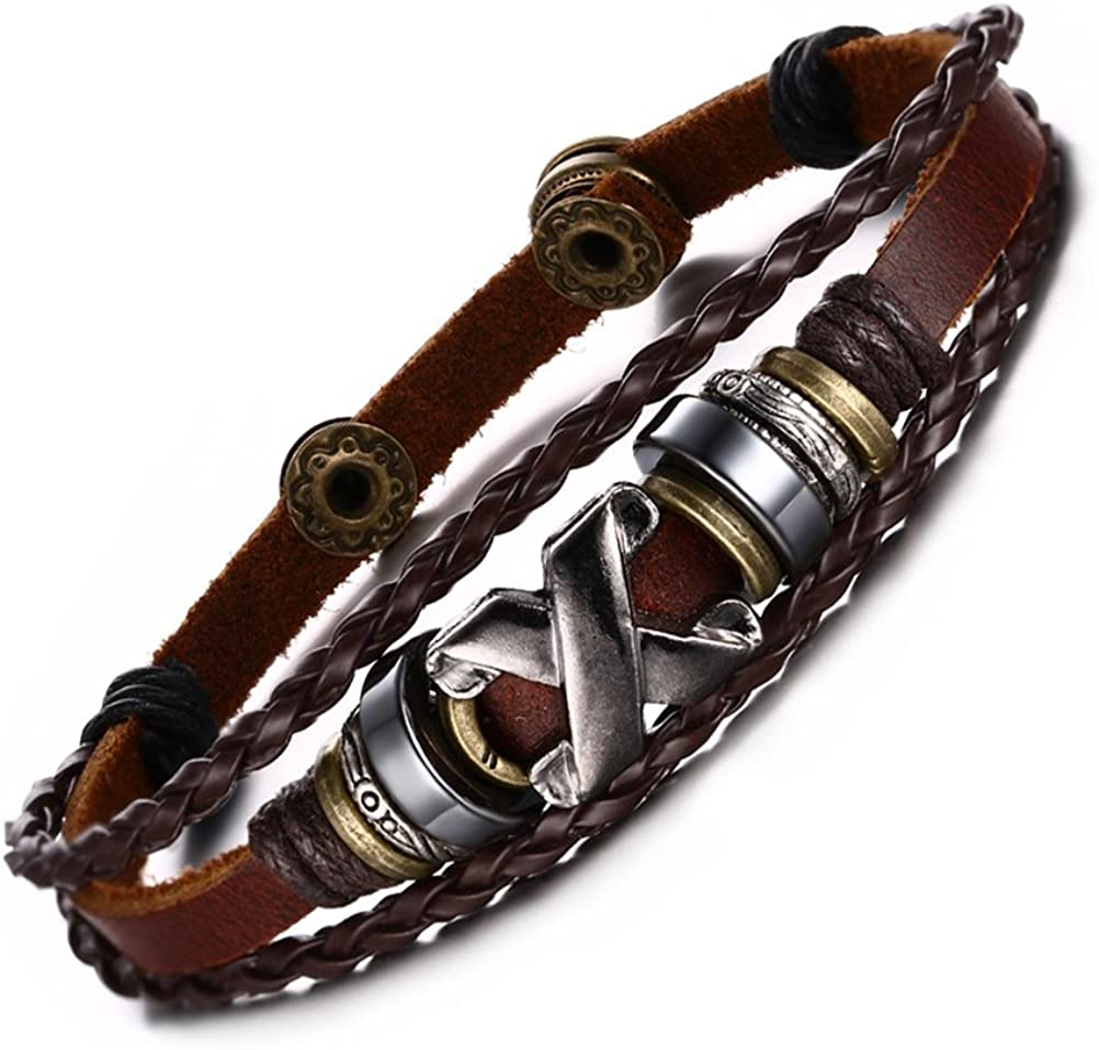 "VNOX Men's Women's Handmade Bronze Alloy Buckle Braided Rope Bead Genuine Leather Bracelet Cuff Bangle,8.5"""
