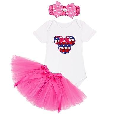 71e203e180d9 FEESHOW Baby Girls Princess Romper 1st Birthday Bodysuit Tutu Skirt Xmas  Outfit Top Skirt Headband Costume, White, 9-12 Months: Amazon.co.uk:  Clothing