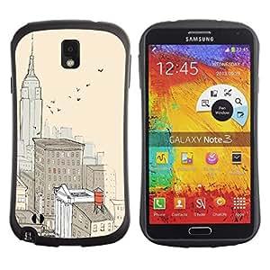 """Pulsar iFace Series Tpu silicona Carcasa Funda Case para Samsung Note 3 , Ciudad de Nueva York Pintura Empire Building"""""""