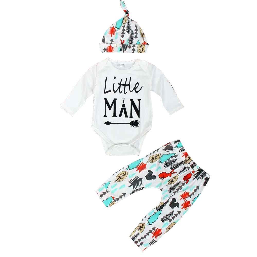Baby Jumpsuit, Doinshop Newborn Long Sleeve Romper +Long Pants+Hat Outfits Set