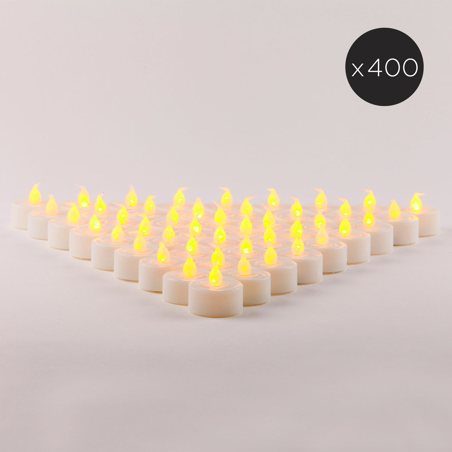 400 White Flameless Tea Lights | Bulk Value Set | Amber LEDs, Resin, Indoor & Outdoor Use, All Batteries Included