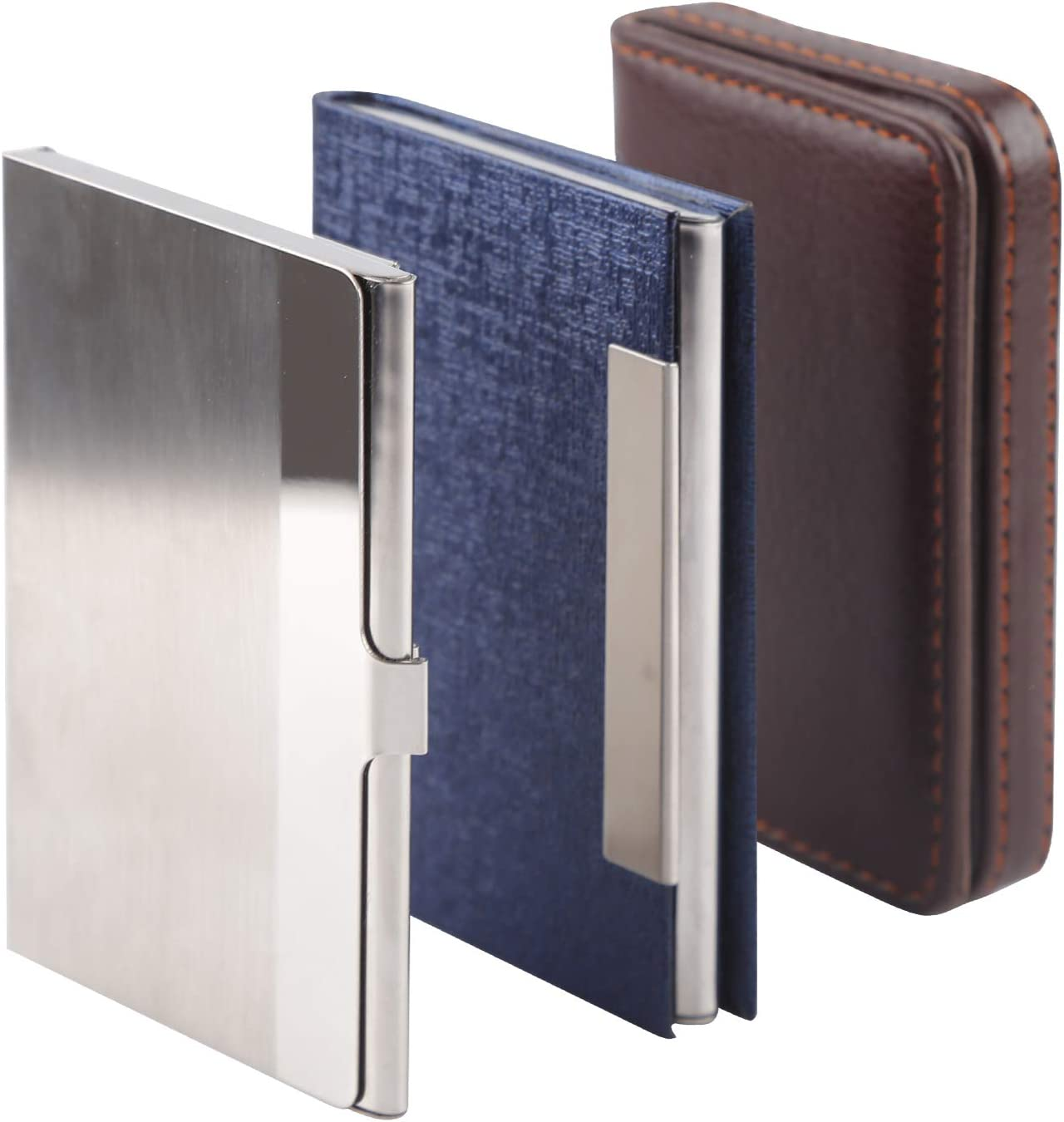 Vetoo Professional Business Name Card Holder, Stainless Steel Metal Slim  Business Card Case, Luxury PU Leather Multi Business Card Wallet for Women  &