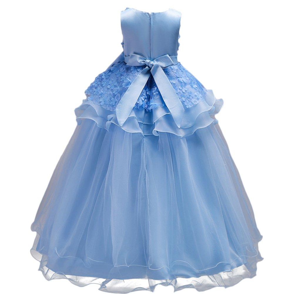 OBEEII Vestido Elegante de Niña Vestidos Floral Largos de Encaje Ropa Verano Disfraz de princesa para Boda Madrina Fiesta Ceremonia Comunión Cumpleaños ...