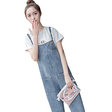 c91b93f9fd SportsX Womens Loose Overall Pocket Suspenders Denim Jegging Jean at ...