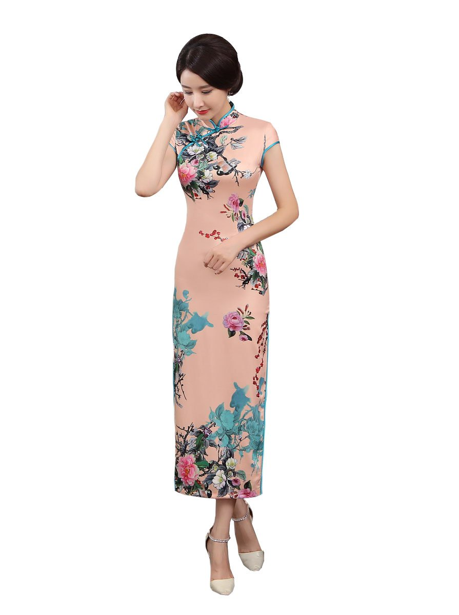 ACVIP Women Stand Collar Cap Sleeve Retro Chinese Floral Maxi Qipao Cheongsam (China 3XL/Bust:40.9'') by ACVIP (Image #1)