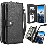 Galaxy S8 Plus Wallet Case, Pasonomi Samsung Galaxy S8+/S8 plus PU Leather Protective Shell Detachable Folio Flip Holster Carrying Case with Card Holder for Samsung Galaxy S8+ Plus 2017 (Black)