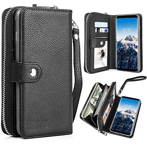 PASONOMI Galaxy S8 Plus Wallet Case, Samsung Galaxy S8+ / S8 Plus PU Leather Protective Shell Detachable Folio Flip Holster Carrying Case with Card Holder for Samsung Galaxy S8+ Plus 2017 (Black)
