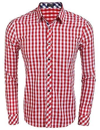 Edited Mens Classic Fashion Long Sleeve Plaid Shirt Business Checked Dress Shirt