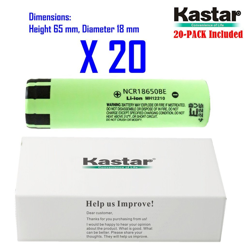 Kastar 18650 (20-Pack) NCR18650BE Lithium-ion Battery, Genuine Quality Rechargeable 3.7V 3200mAh Flat Top Battery.
