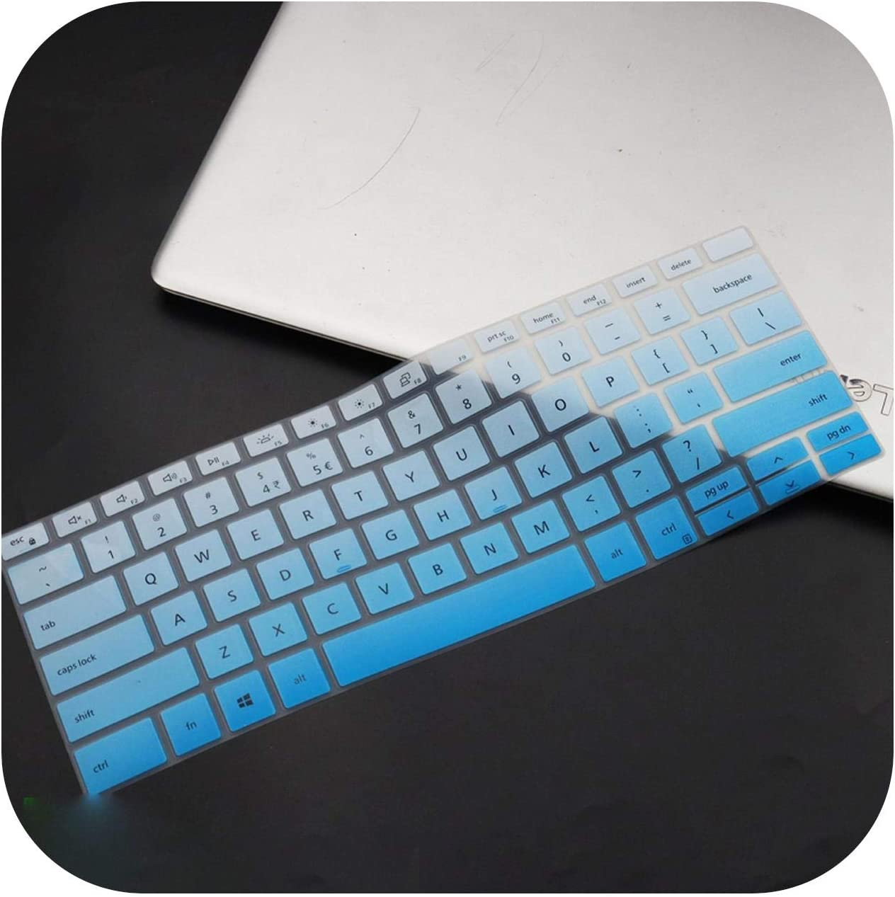 Silicone Notebook Laptop Keyboard Cover Protector Skin for Dell Xps 13 9300 7390 2020 / Xps 15 9500 2020 / Xps 17 9700 2020-Fadeblue