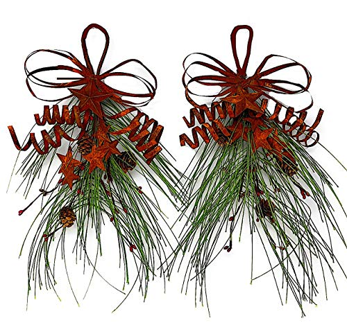 S.T.C. Christmas Holiday Teardrop Swag Ornament Green Pine Red Berries Rustic Stars Garland for Door Wall Window Indoor Outdoor Small Set of 2-16