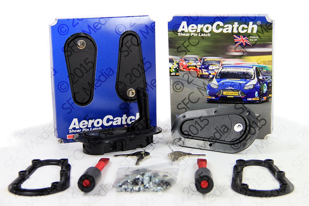 AeroCatch Flush Locking Hood Latch and Pin Kit - Black - Now includes Molded Fixing Plates - Part # 125-2100