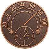K&A Company Outdoor Thermometer and Clock - Solstice, 14'' x 14'' x 1.5'' x 8 lbs, Antique Copper