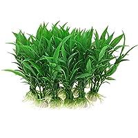 Vogholic Plastic Aquarium Water Plants/Aquatic Grass, 10 Pieces, Green