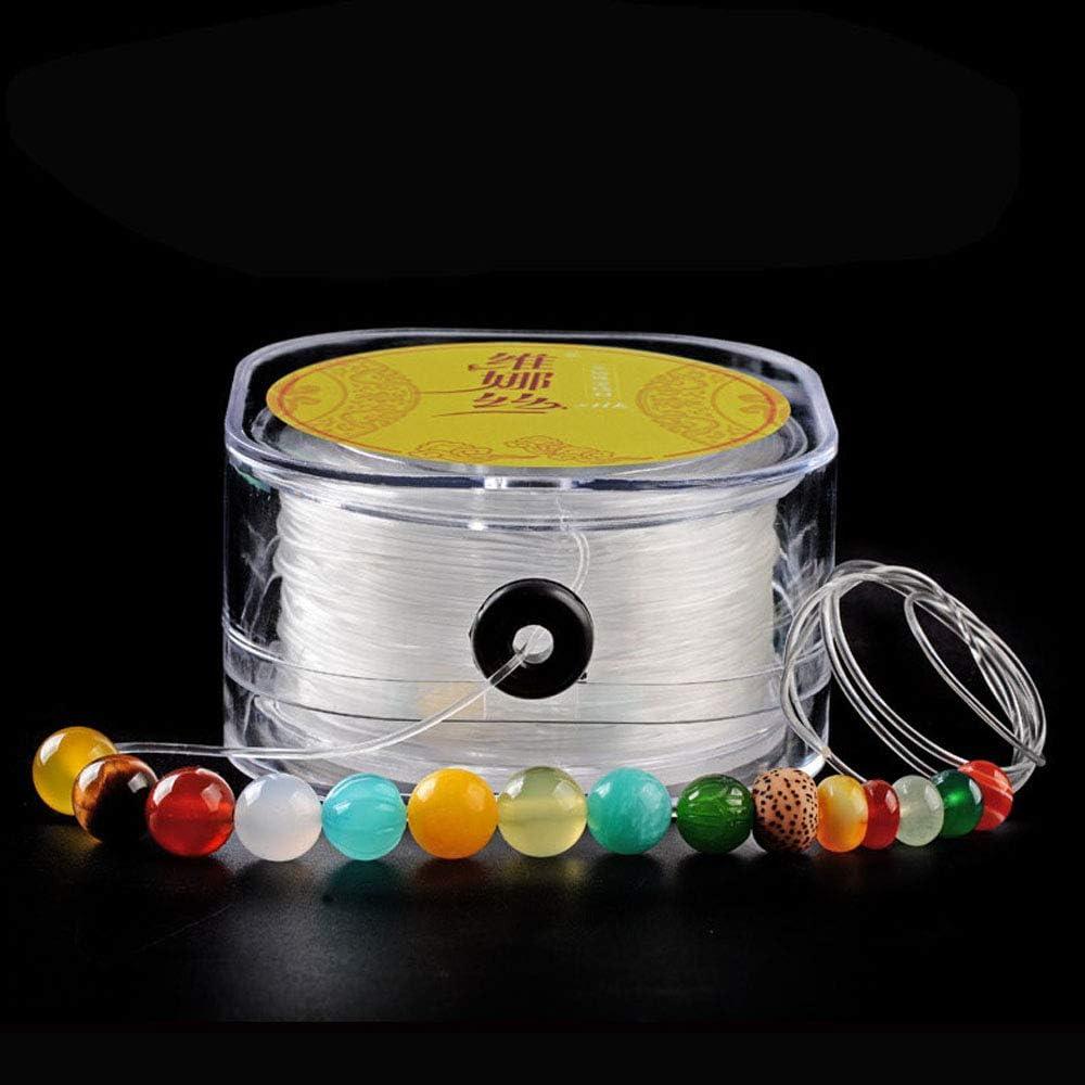 Turbobm 0.5mm / 0.6mm / 0.7mm / 0.8mm / 1mm / 1.2mm / 1.5mm Pulsera elástica Cuerda de cordón Hilo de Reborde elástico Transparente para Hacer Joyas Pulsera de Collar con Caja