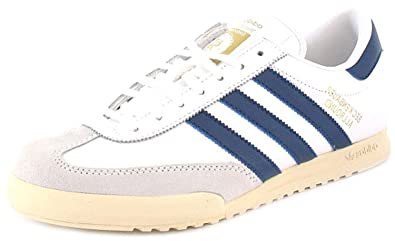 Mens Gents White Leather   Suede Adidas Beckenbauer Fashion Trainers - White  Blue - aa891db12
