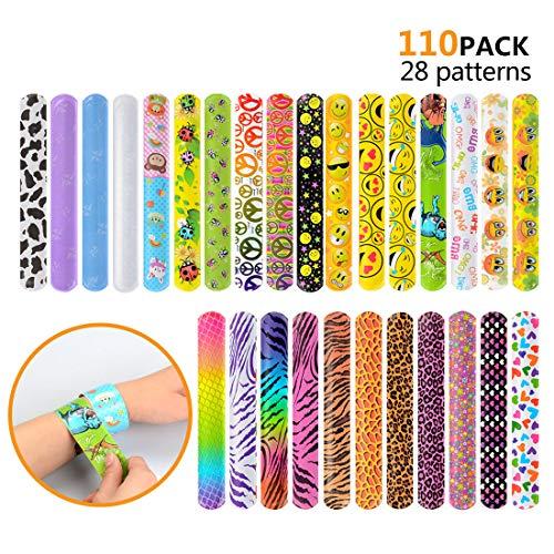 (110 Pcs Slap Bracelets, Party Favors Slap Bracelet Pack with Colorful Different Patterns, 1.1 x 8.7 Inch)