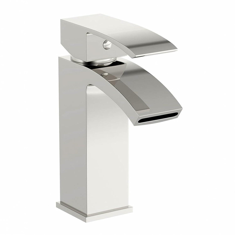 ENKI Miscelatore lavabo squadrato a collo di cigno ottone cromato CASCADE