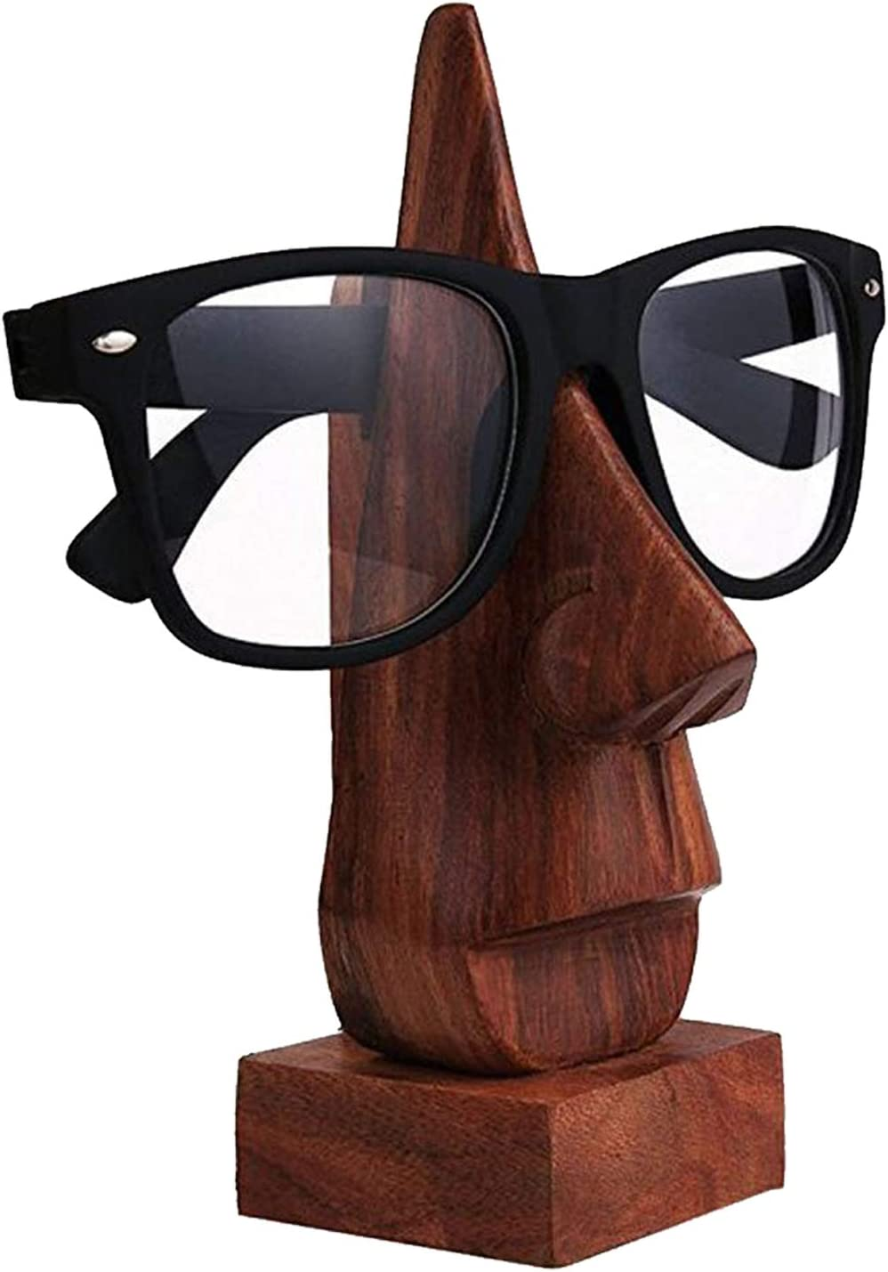 WhopperOnline classic hand made sheesham wood nose shaped Spectacle / Eyeglass display holder stand decorative for home and office (Brown, 6 inch), Birthday and Thanksgiving witty item for loved ones