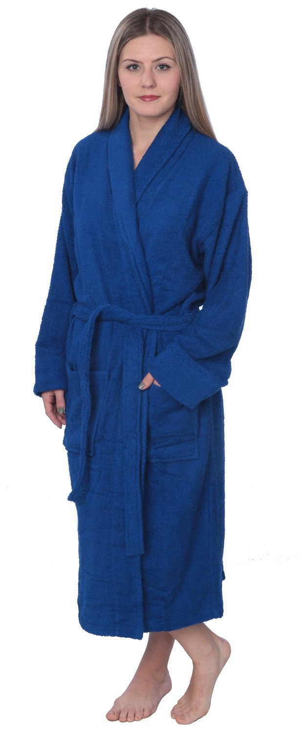 Womens 100% Cotton Shawl Collar Robe Terry Cloth Bathrobe Available in Plus Size BRT1_Y18 Royal Blue 4X by Beverly Rock