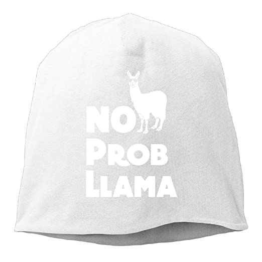 b6d36a8108d Image Unavailable. Image not available for. Color  Jay94 Funny No Prob  Llama Unisex Toboggan Knit Hat ...