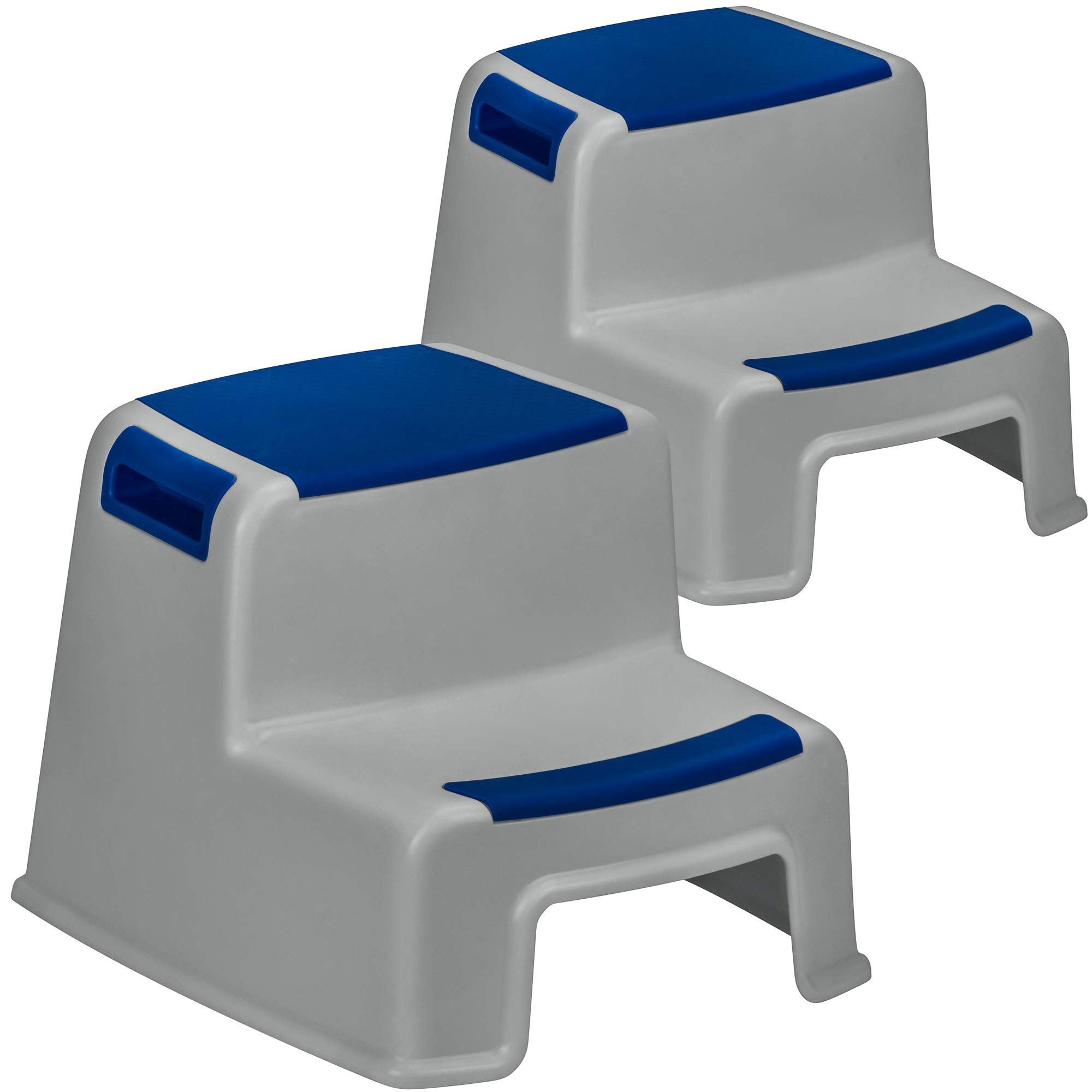 DecorRack 2 Step Stool for Kids, Adults, 2-Step Foot Stool with Handles, Non-Slip, Non-Skid Surface and Base, 280 lb Capacity, Sturdy, 11 Inches High Toilet Potty Training Stool, Blue Grey (2 Pack) by DecorRack