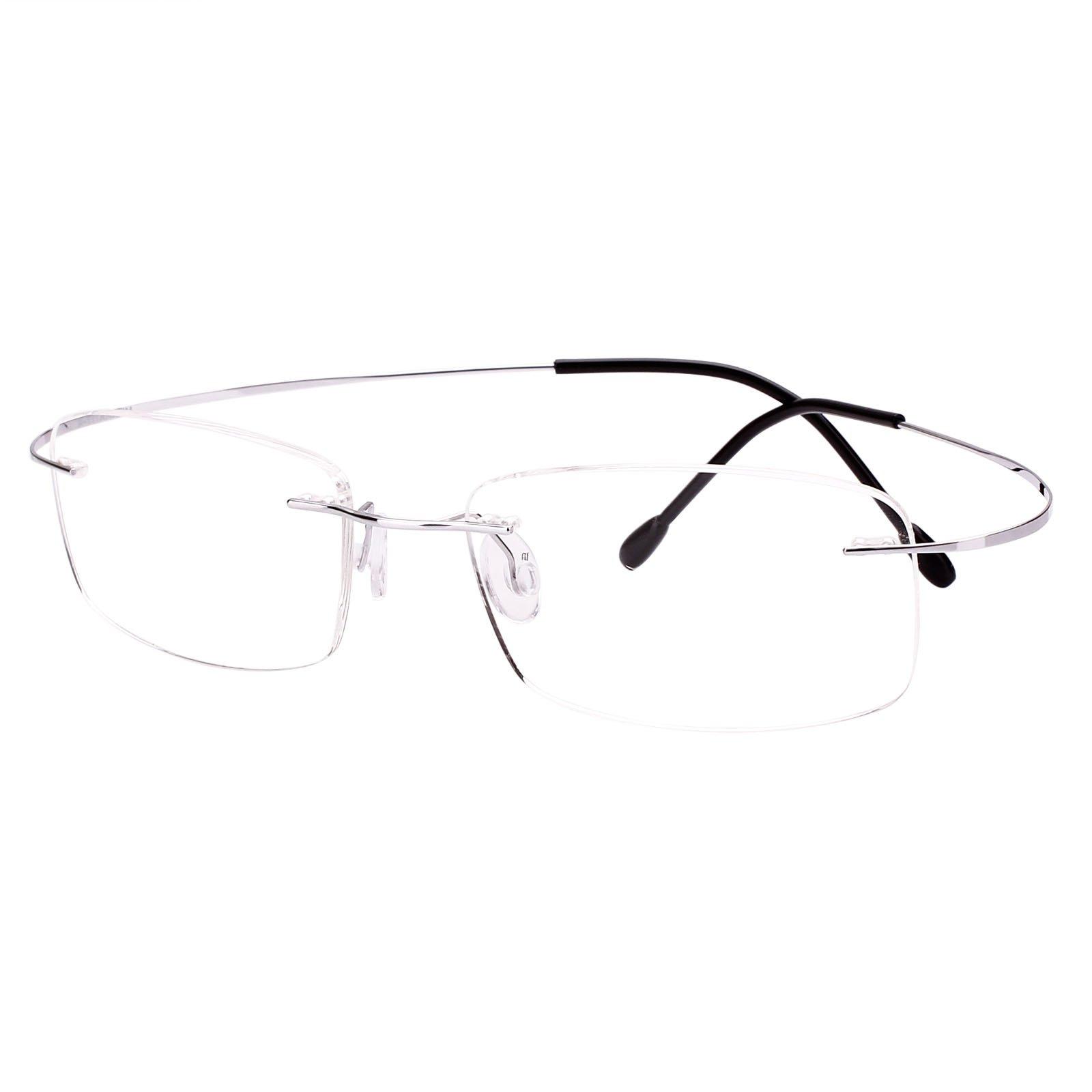 Agstum Pure Titanium Rimless Frame Prescription Hingeless Eyeglasses Rx (Silver, Non-Prescription Clear Lens / 52)