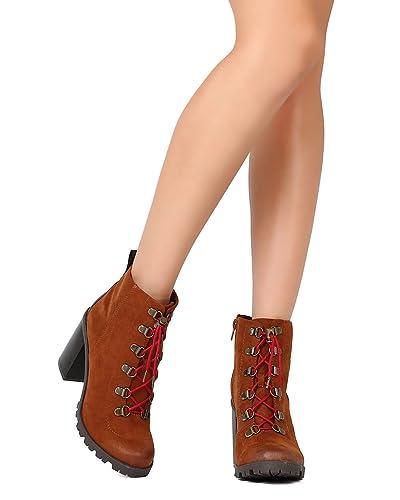 5ea1f4d4de2 Women Faux Suede Lace Up Chunky Heel Lug Sole Bootie FE92 - Chestnut (Size