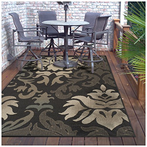 Superior Lowell Collection 4 x 6 Area Rug, Indoor Outdoor Rug with Jute Backing, Durable and Beautiful Woven Structure, Grey, Beige, and Teal Floral Damask Pattern