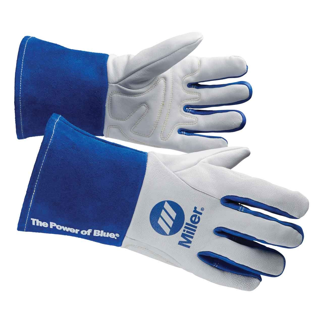 Welding Gloves, M, Wing, 11In, White/Blue, PR by Miller Electric (Image #1)