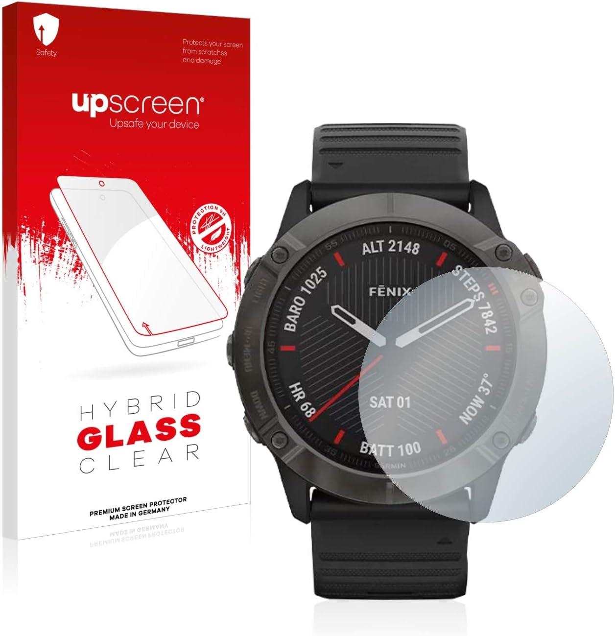 upscreen Protector Pantalla Cristal Templado Compatible con Garmin Fenix 6X Pro Hybrid Glass - 9H Dureza