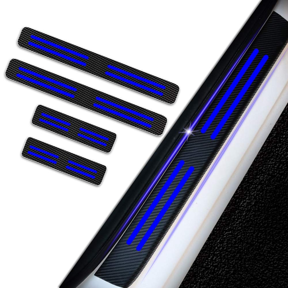 SENYAZON Car Threshold Pedal Sticker for Dodge Chrysler Decoration Scuff Plate Carbon Fibre Vinyl Sticker Car Accessories car-Styling Blue