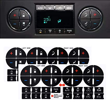 AC Dash Button Repair Sticker Decal For GM Tahoe Suburban Avalanche Silverado