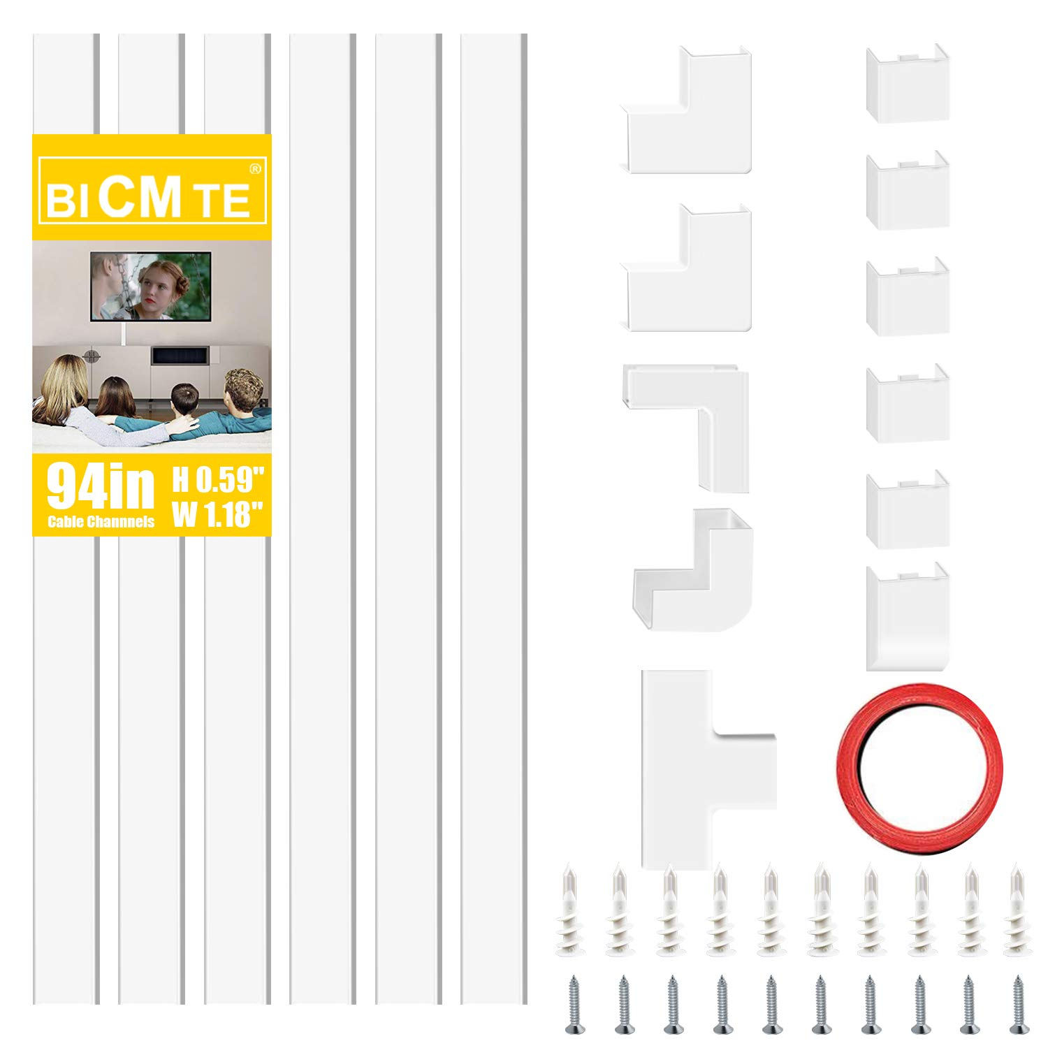 Cable Concealer On-Wall Cord Cover Raceway Kit - Cable Management System to Hide Cables, Wire Hider ,Cords, or Wires - Cord Organizer for Wall Mounted TVs and Computers at Home or in The Office