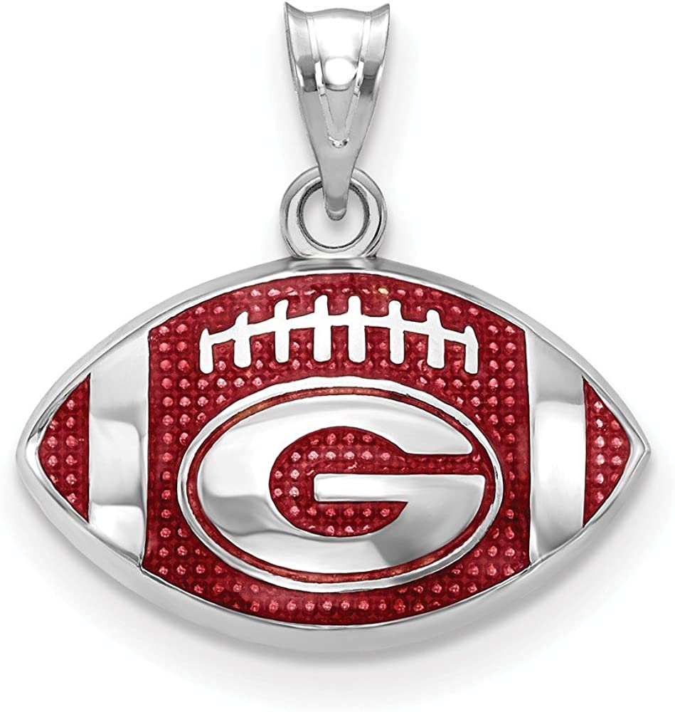 FB Jewels Solid 925 Sterling Silver Univ Of Georgia Enameled Football Pendant