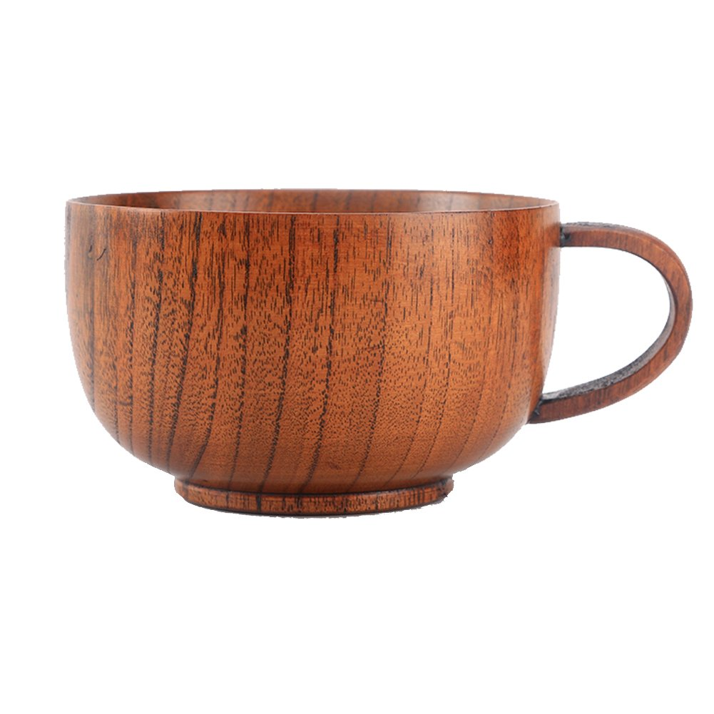 Cospring 1PC Solid Wood Bowl, 5-1/8 inch Dia by 3-1/8 inch, for Rice, Soup, Dip, Decoration (Large) Wbowl-L
