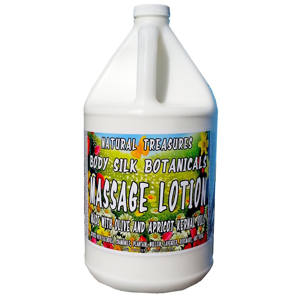 Body Silk Botanicals Massage Lotion - Our Thickest Ultra-Glide Massage Lotion. 128 Ounces - One Gallon by Natural Treasures and Barclay Labs