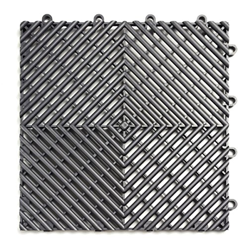 RaceDeck Free-Flow Open Rib Design, Durable Interlocking Modular Garage Flooring Tile (12 Pack), (Interlocking Garage Floor)